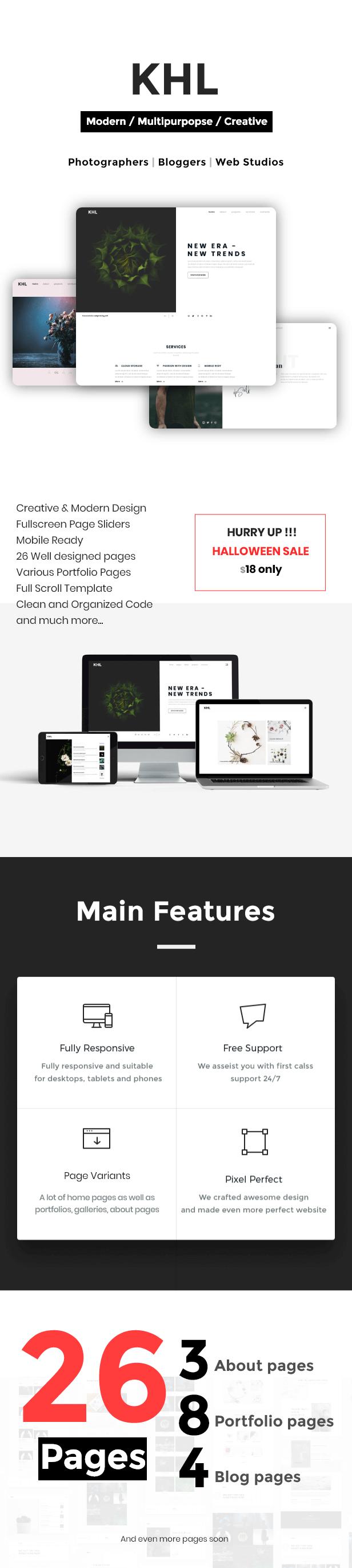 KHL - Modern, Multipurpose, Minimal HTML5 Template - 1